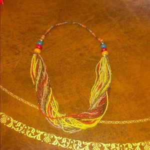 Colorful multiple strand beaded necklace